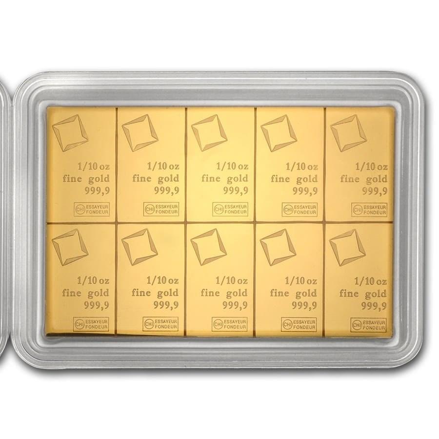 10 x 1/10 oz Gold Valcambi CombiBar™ (In Assay)