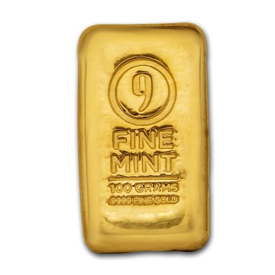 100 gram Cast-Poured Gold Bar - 9Fine Mint