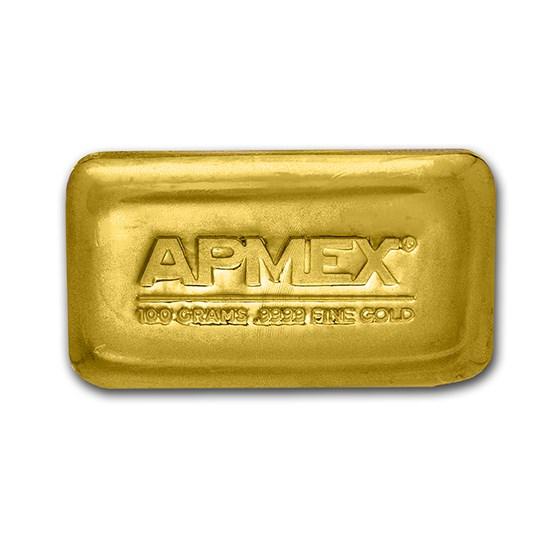 100 gram Cast-Poured Gold Bar - APMEX