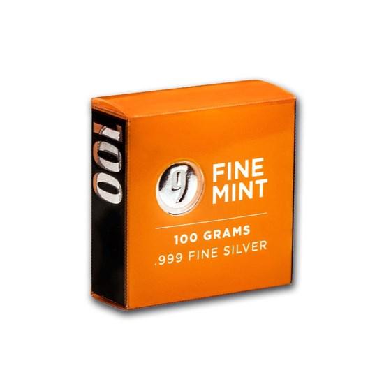 100 gram Cast-Poured Silver Bar - 9Fine Mint