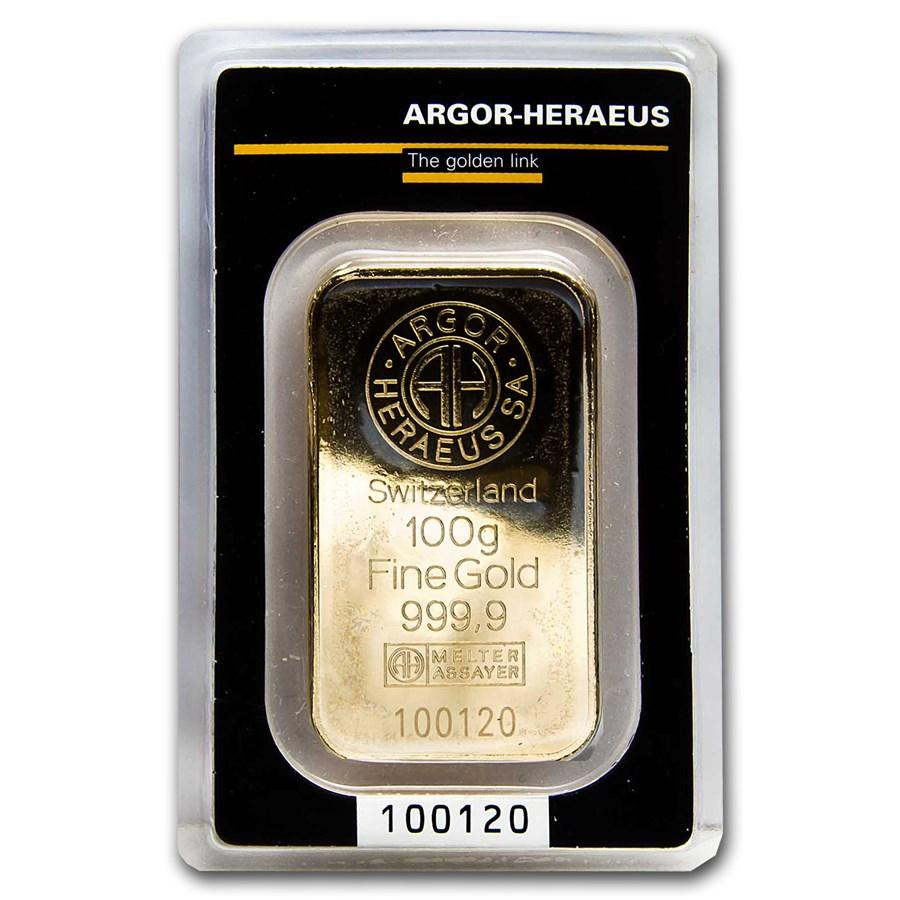 100 gram Gold Bar - Argor-Heraeus KineBar Design (In Assay)