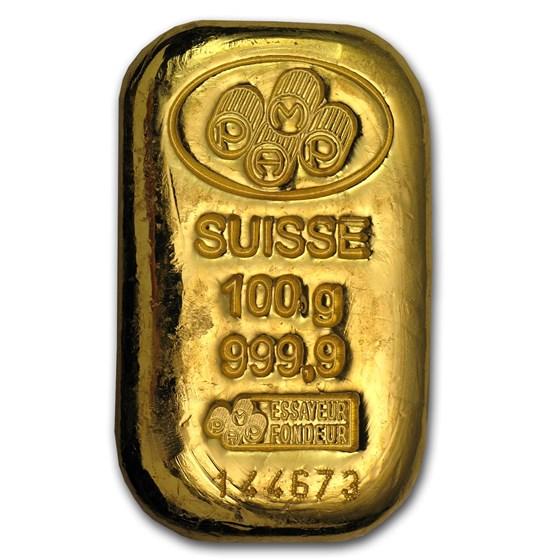 100 gram Gold Bar - PAMP Suisse (Cast, w/Assay)