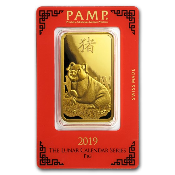 100 gram Gold Bar - PAMP Suisse Year of the Pig (In Assay)