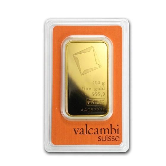 100 gram Gold Bar - Valcambi (Pressed w/Assay)