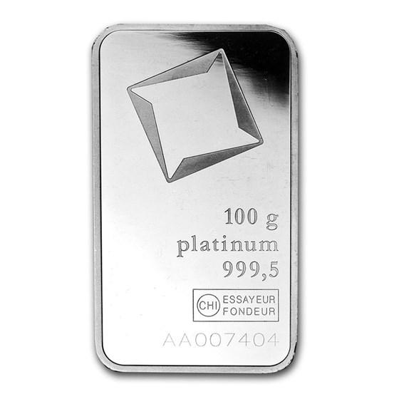 100 gram Platinum Bar - Secondary Market (.999+ Fine)