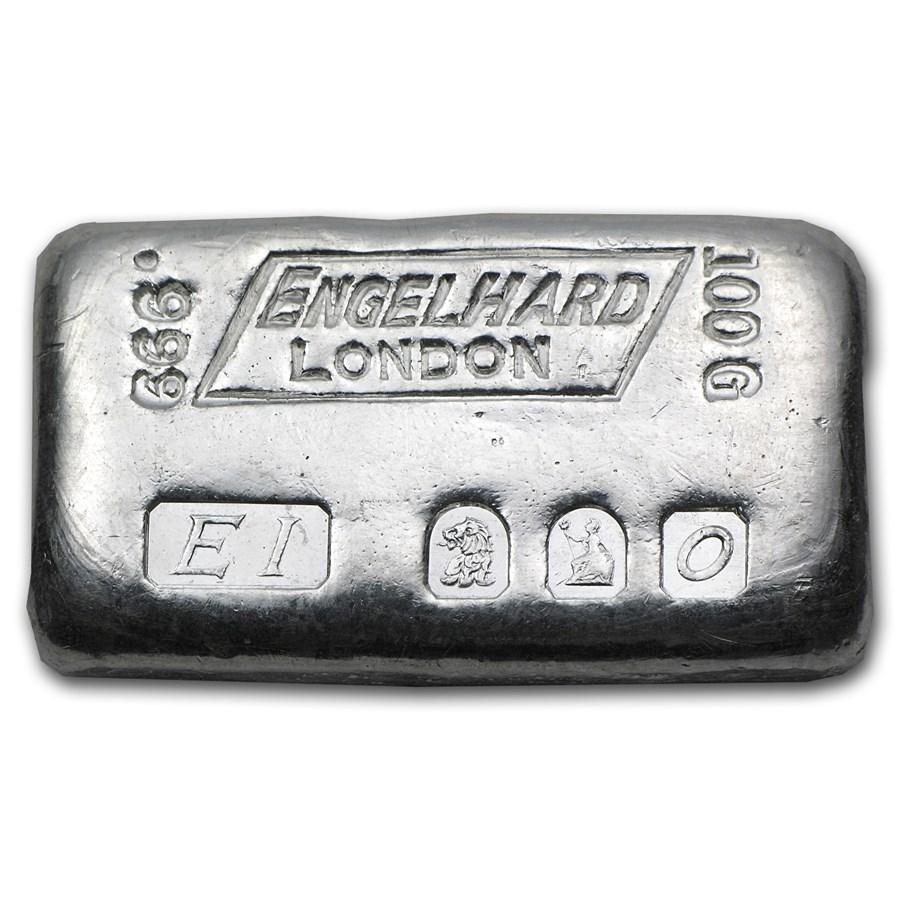100 gram Silver Bar - Engelhard (London/Britannia/1963)