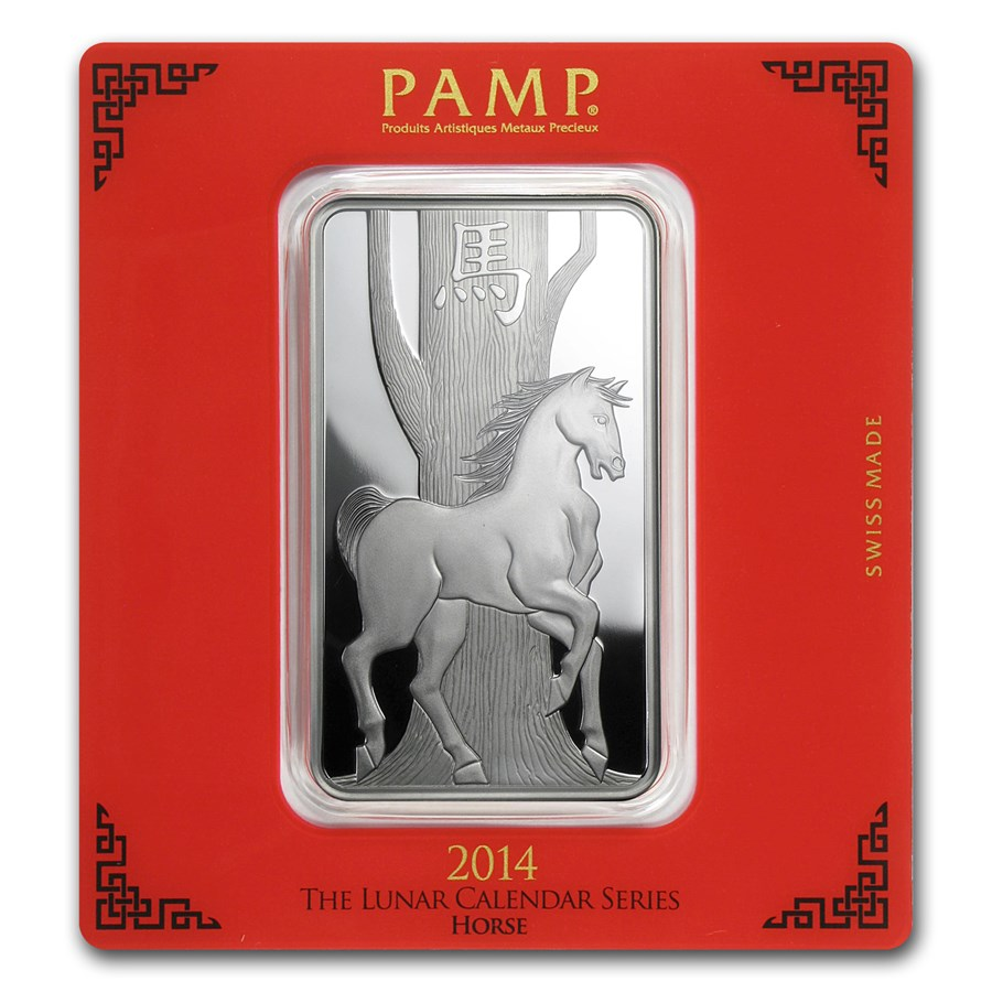 100 gram Silver Bar - PAMP Suisse (Year of the Horse)