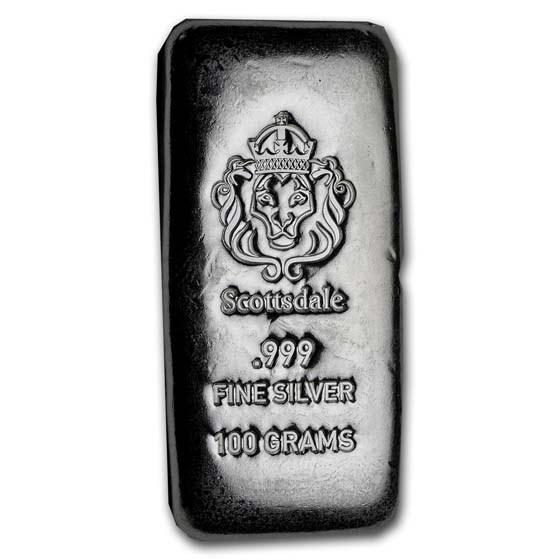 100 gram Silver Cast-Poured Bar - Scottsdale Mint