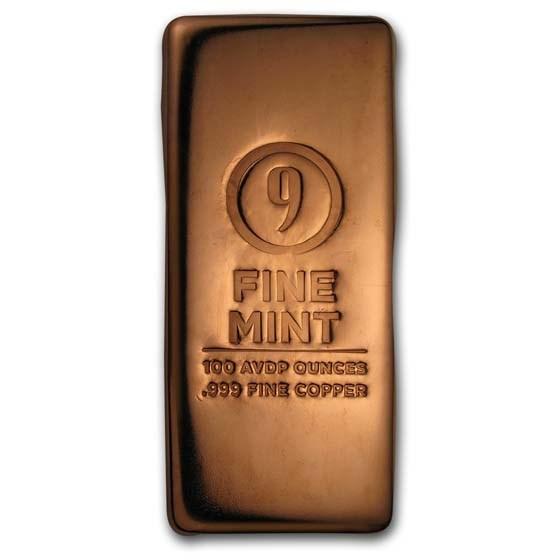 100 oz Cast-Poured Copper Bar - 9Fine Mint