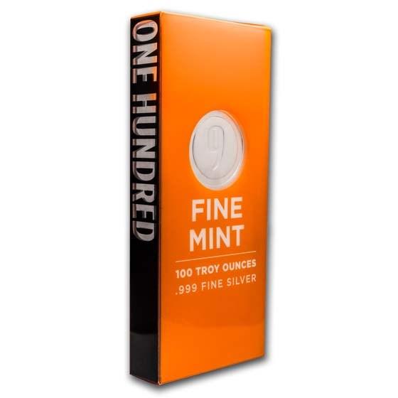 100 oz Cast-Poured Silver Bar - 9Fine Mint