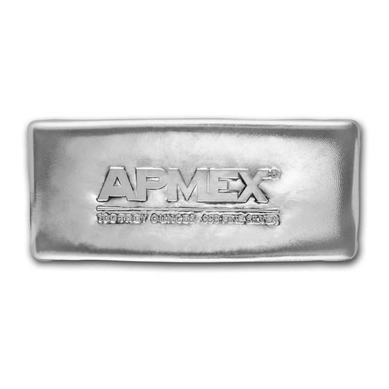 100 oz Cast-Poured Silver Bar - APMEX