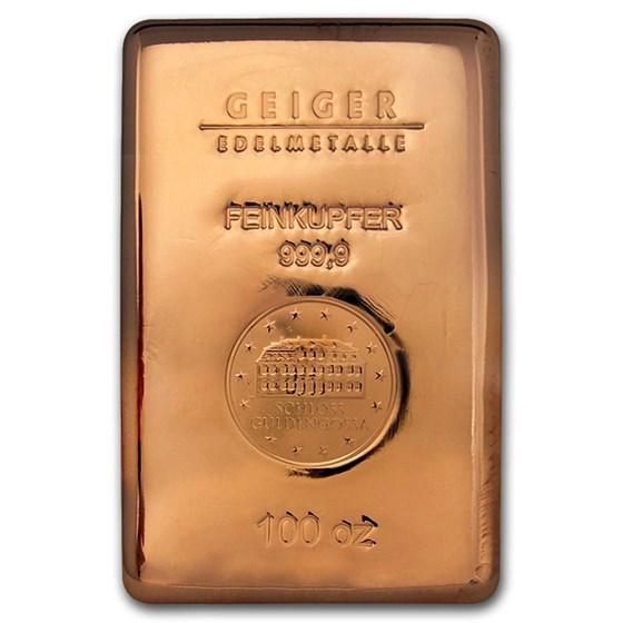 100 oz Copper Bar - Geiger (Poured, .9999 Fine)