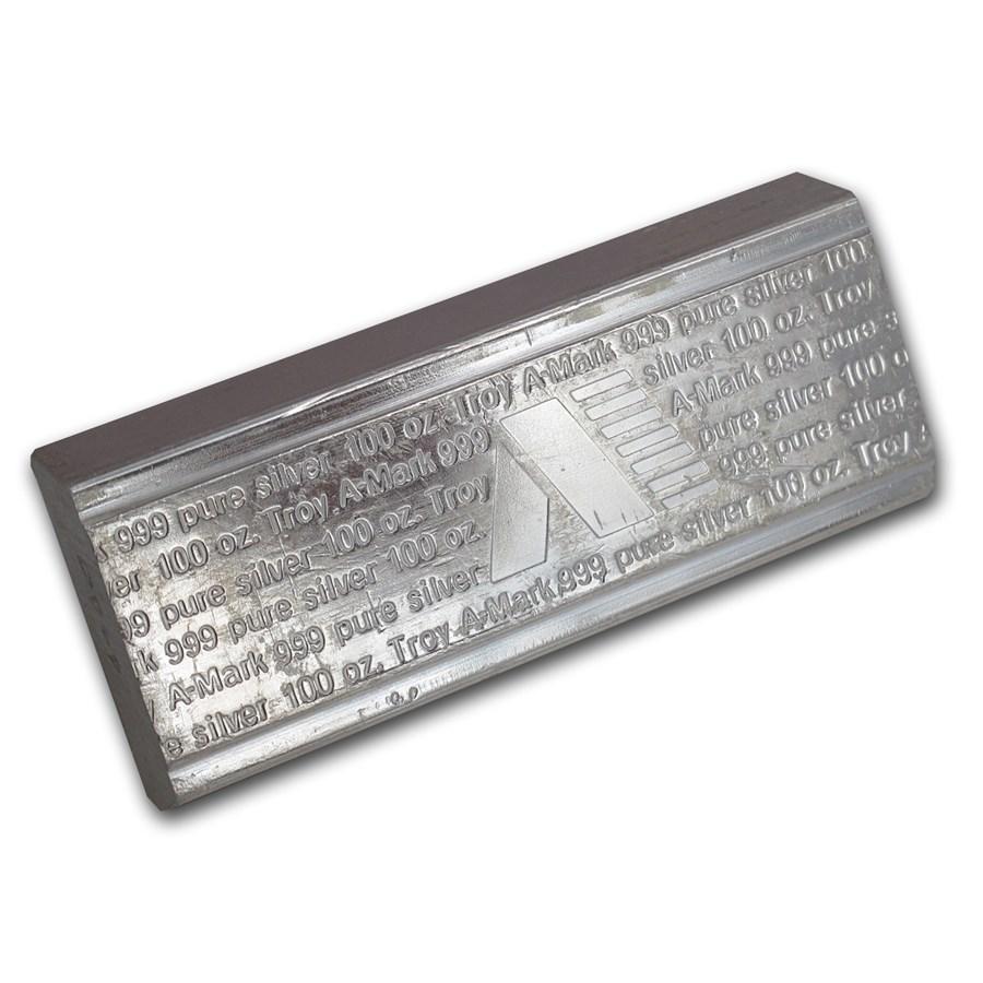 100 oz Silver Bar - A-Mark (Vintage/Stackable)