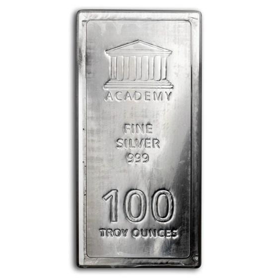 100 oz Silver Bar - Academy (Stackable)