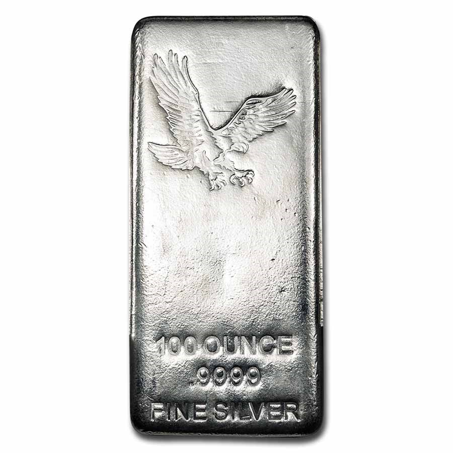 100 oz Silver Bar - American Bald Eagle