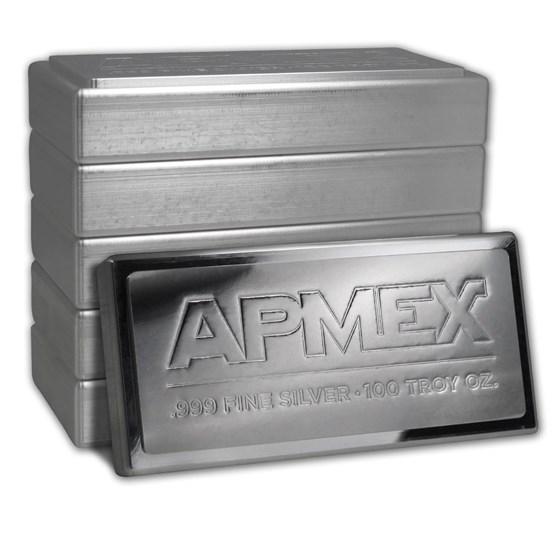100 oz Silver Bar - APMEX (Stackable)