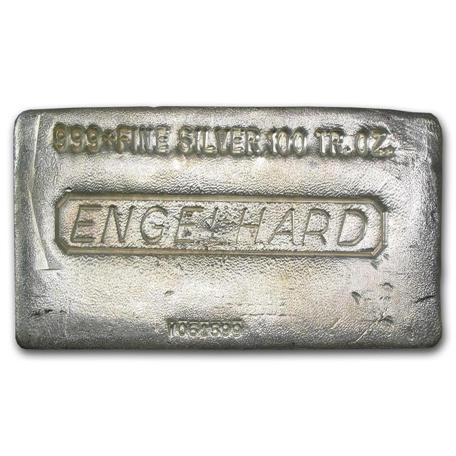 100 oz Silver Bar - Engelhard (Poured)