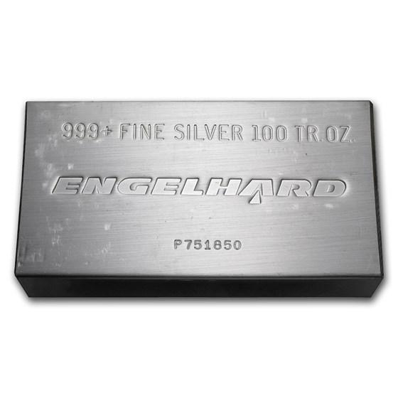 100 oz Silver Bar - Engelhard (Struck, w/Original Plastic)