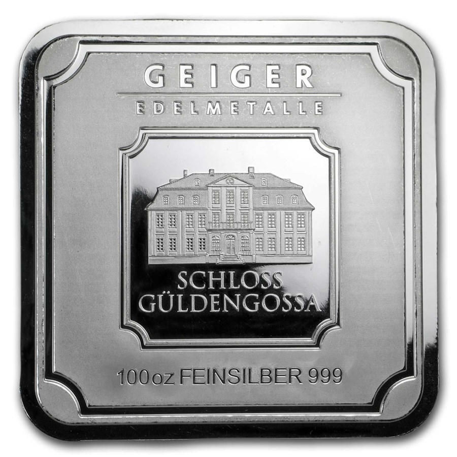 100 oz Silver Bar - Geiger Edelmetalle (Original Square Series)