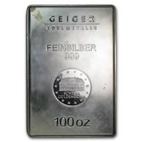100 oz Silver Bar - Geiger (Security Line Series/Scruffy)