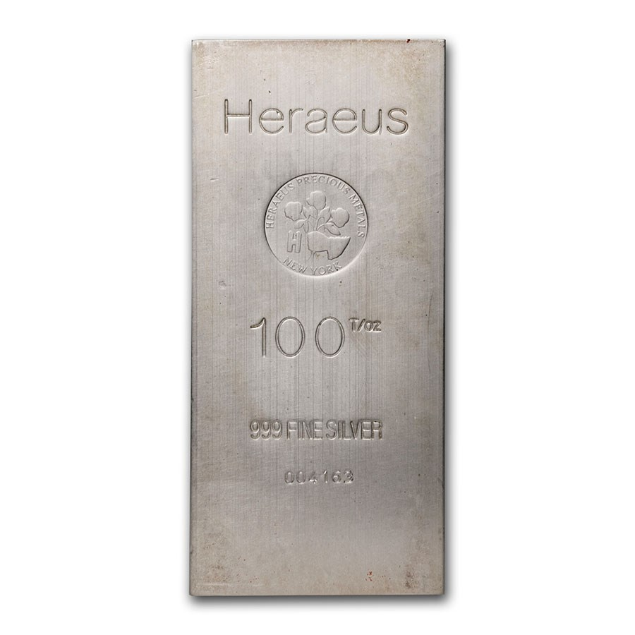 100 oz Silver Bar - Heraeus (New York w/Flower)