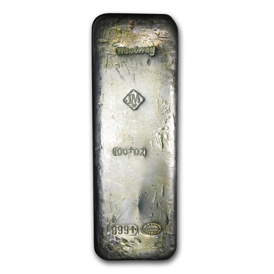 100 oz Silver Bar - Johnson Matthey (Canada, Westway)
