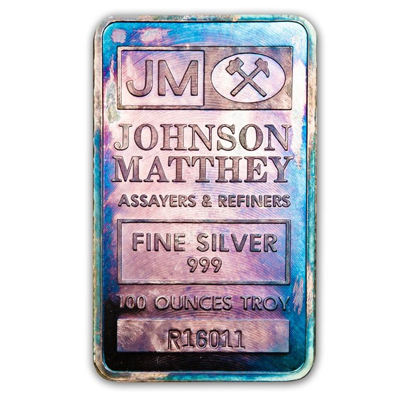 100 oz Silver Bar - Johnson Matthey (Pressed, Beautiful Toning)