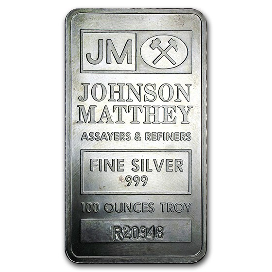 100 oz Silver Bar - Johnson Matthey (Pressed, w/Box & Serial #'s)