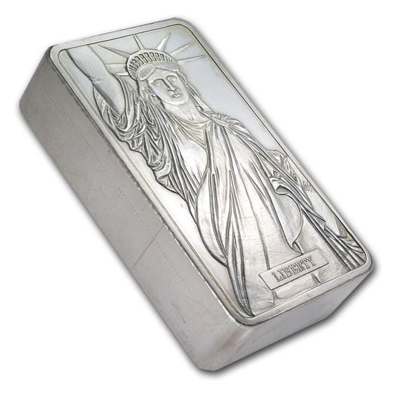 100 oz Silver Bar - Johnson Matthey (Statue of Liberty, MTB)