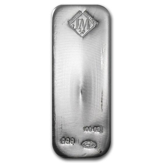 100 oz Silver Bar - Johnson Matthey