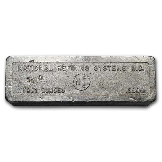 100 oz Silver Bar - National Refining Systems Inc.