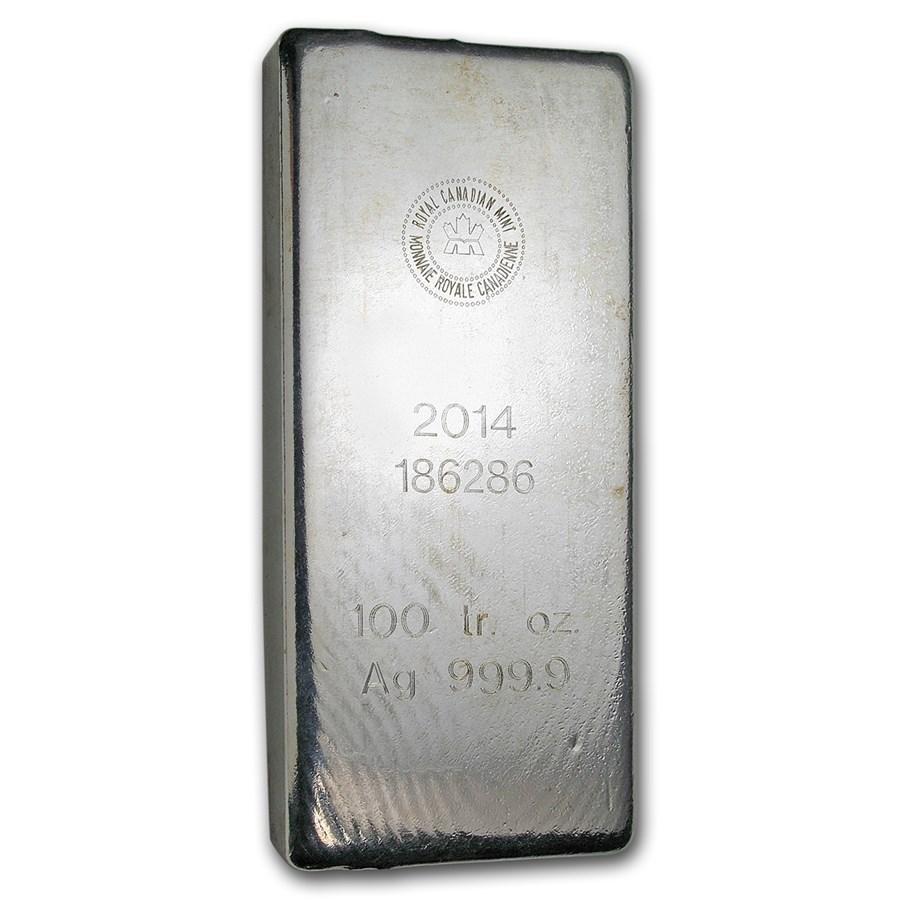 100 oz Silver Bar - Royal Canadian Mint (2014/.9999 Fine)