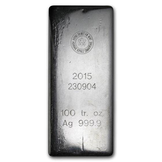100 oz Silver Bar - Royal Canadian Mint (2015/.9999 Fine)