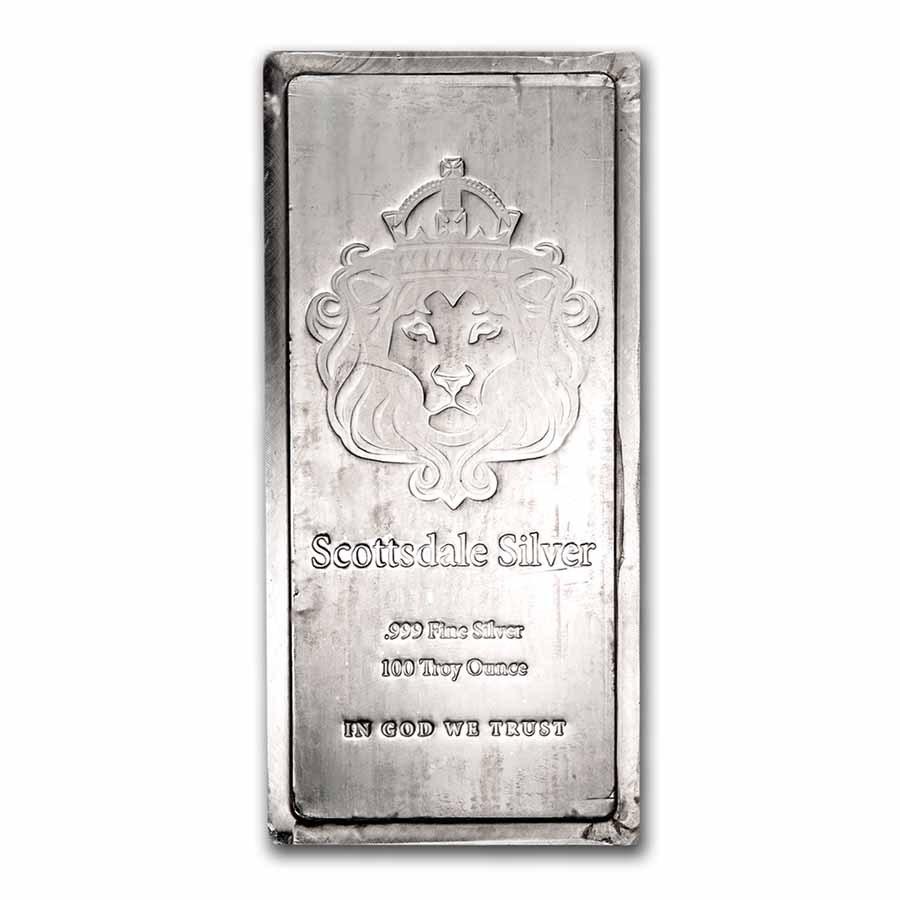 100 oz Silver Bar - Scottsdale Mint (Stackable)