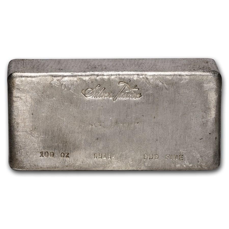 100 oz Silver Bar - SilverTowne (Poured, Vintage)
