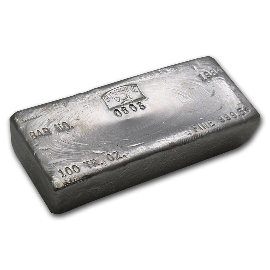 100 oz Silver Bar - Sunshine (Vintage, Poured)