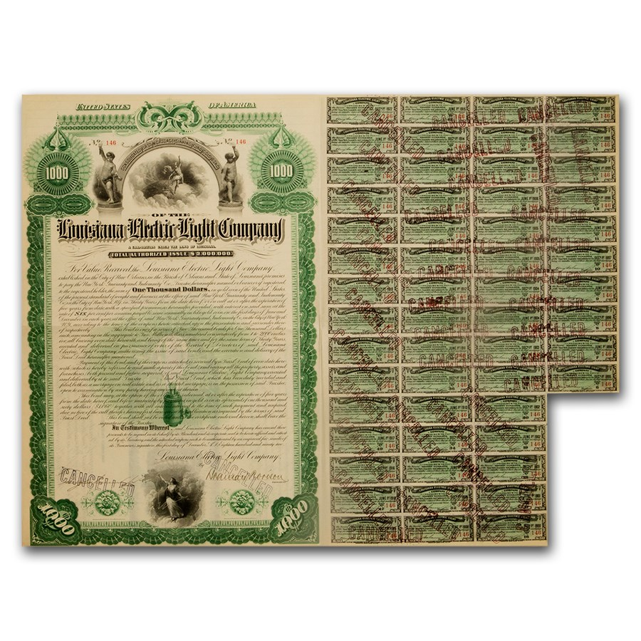 $1000 Bond - Louisiana Electric Light Company (1892)