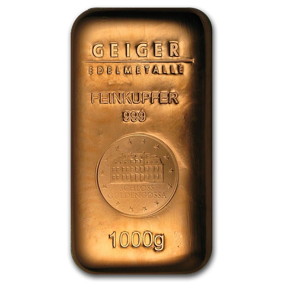 1000 gram Copper Bar - Geiger (Poured, .999 Fine)