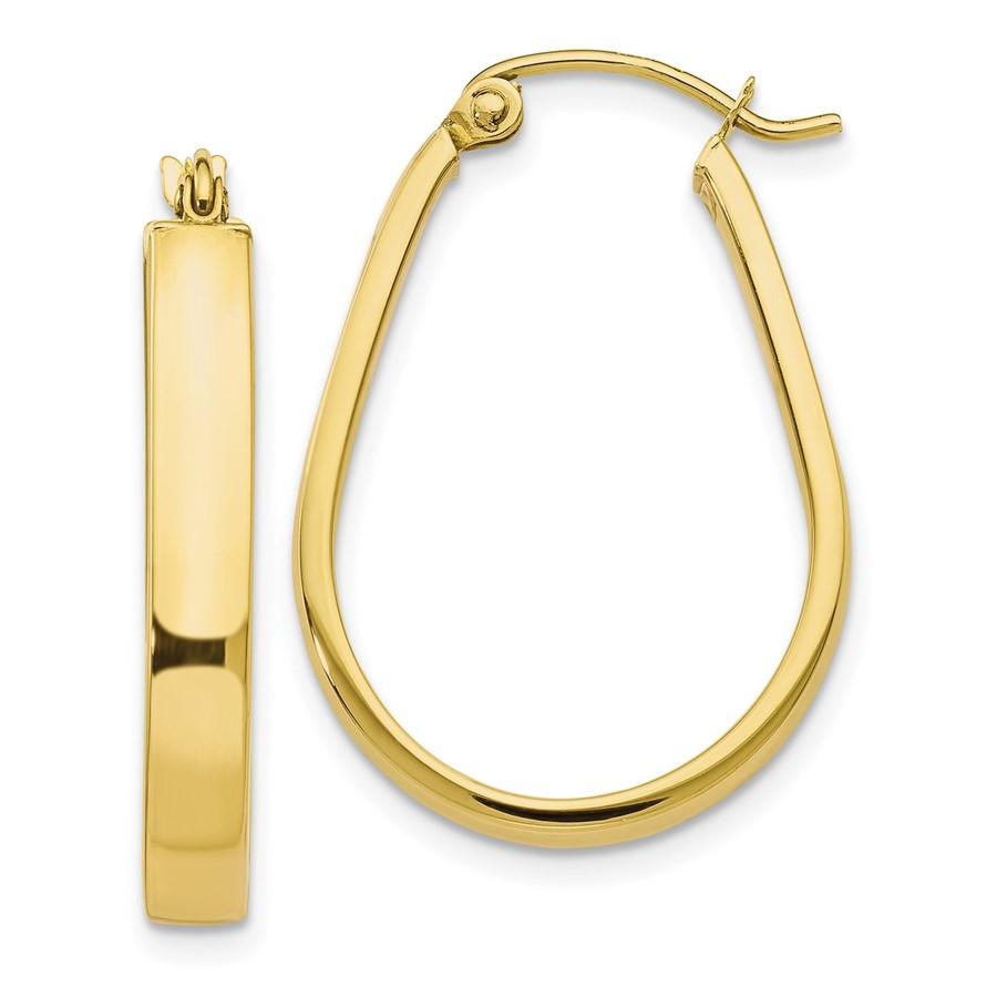 10K Polished Hinged Hoop Earrings - 26.5 mm