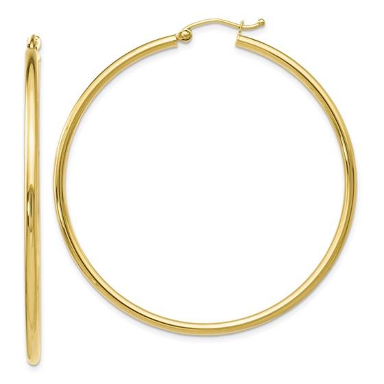 10K Polished Hinged Hoop Earrings - 51 mm