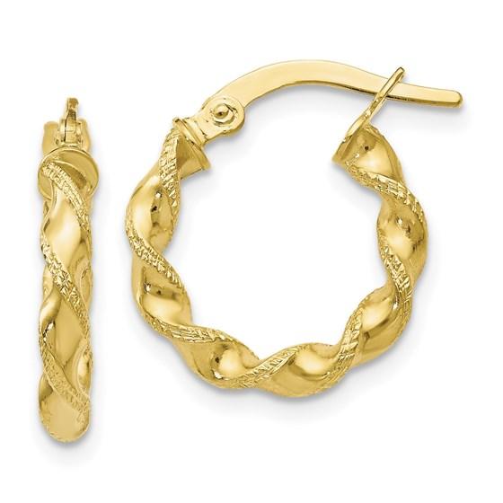 10K Polished & Textured Twisted Hinged Hoop Earrings - 17 mm