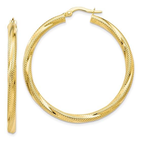 10K Twisted Hinged Hoop Earrings - 41 mm
