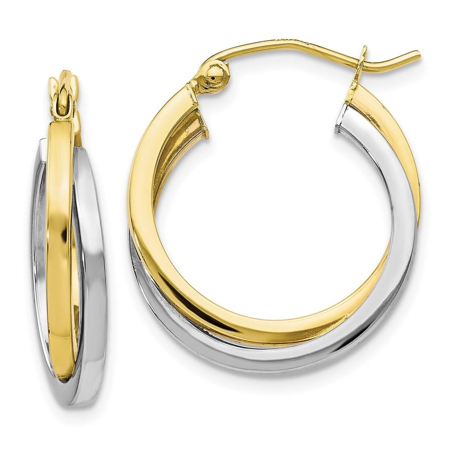 10K Two-tone Polished Hinged Hoop Earrings - 23 mm