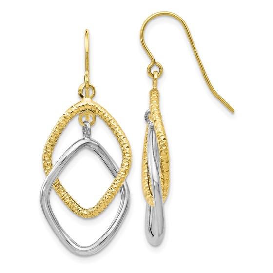 10K Two-tone Shepherd Hook Dangle Earrings - 36 mm
