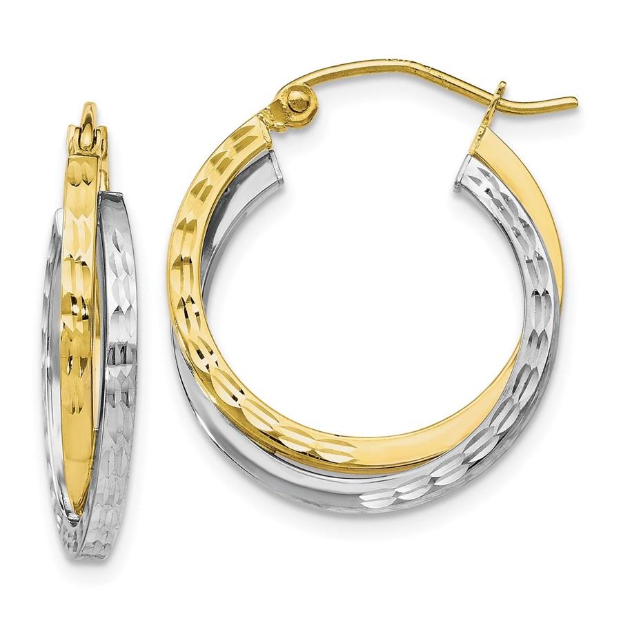 10K Two-tone Textured Hinged Hoop Earrings - 23 mm
