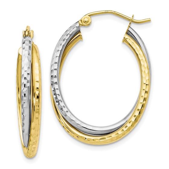 10K Two-tone Textured Hinged Hoop Earrings - 29 mm