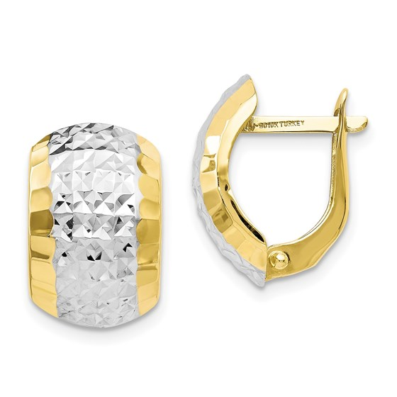 10K w/Rhodium D/C Hinged Earrings - 15.5 mm