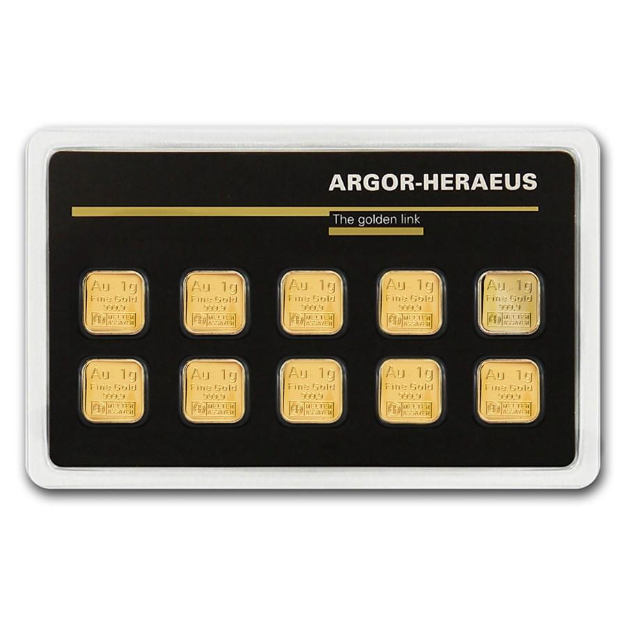 10x 1 gram Gold Bar - Argor-Heraeus (In Assay)