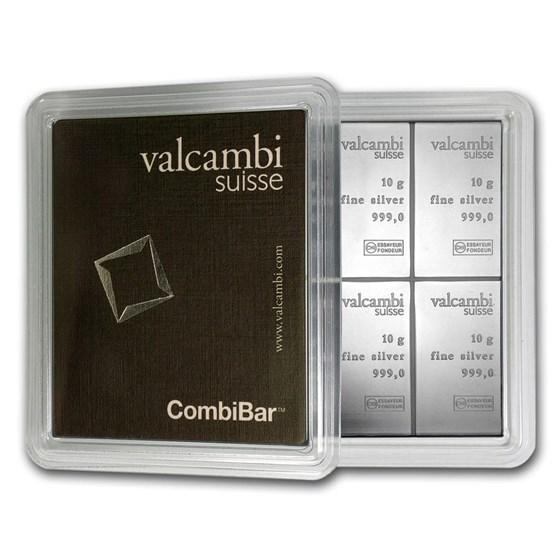 10x 10 gram Silver Bar - Valcambi Silver CombiBar™ (w/Assay)