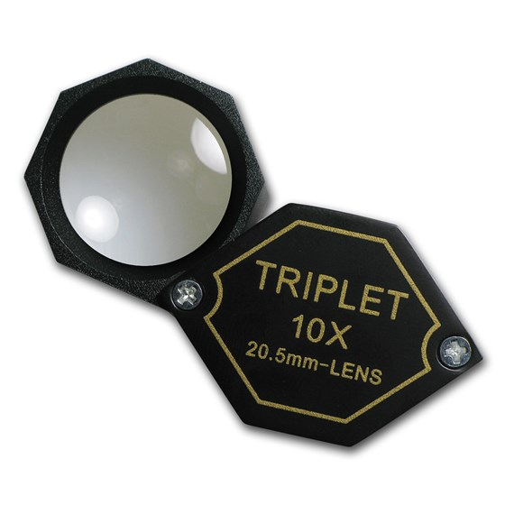 10X Power 20.5 mm Hexagonal Triplet Magnifier